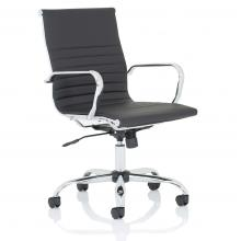 Nola Medium Back Leather Office Chair With Arms